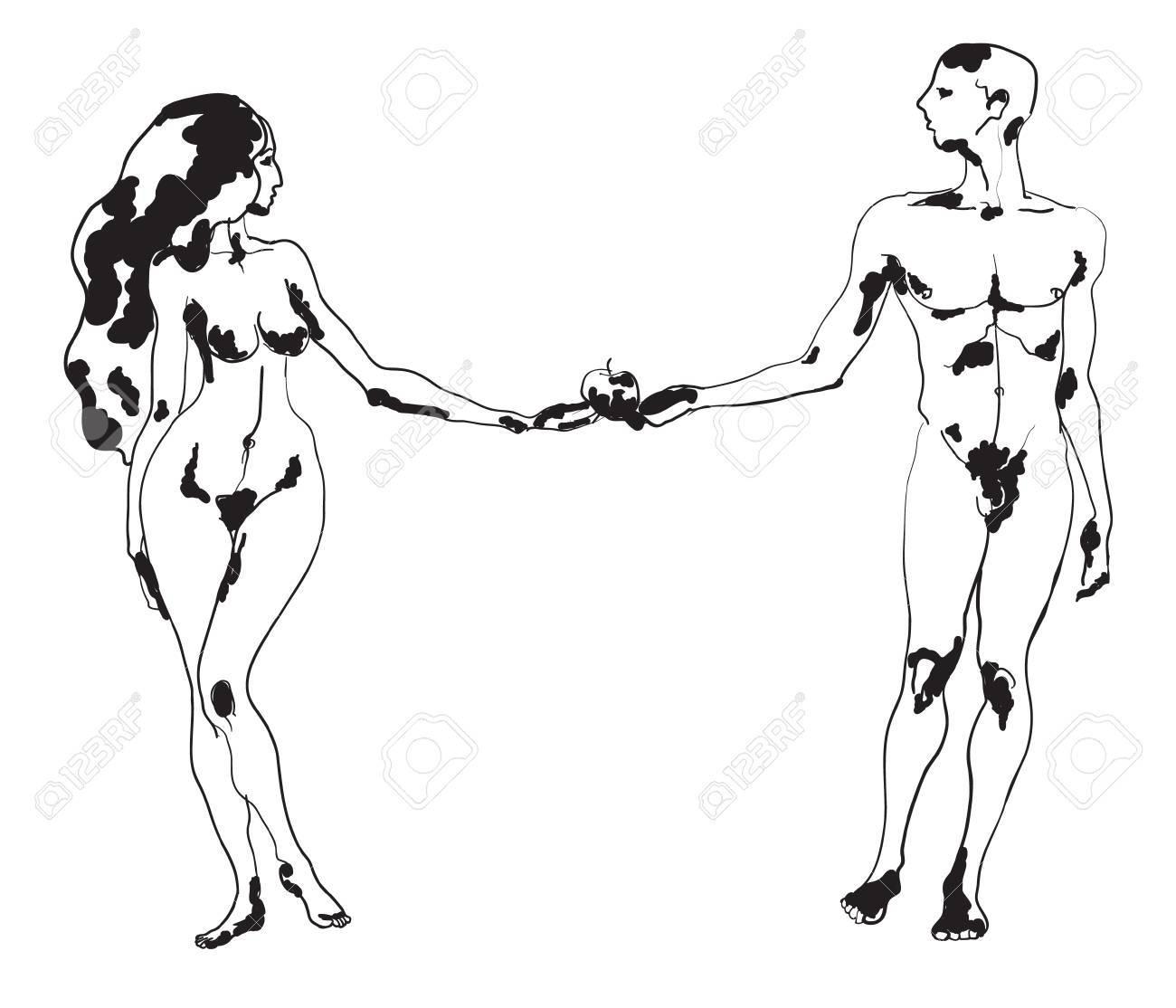 Ilustración Vectorial Dibujado A Mano De Adán Y Eva Con Una Manzana ...