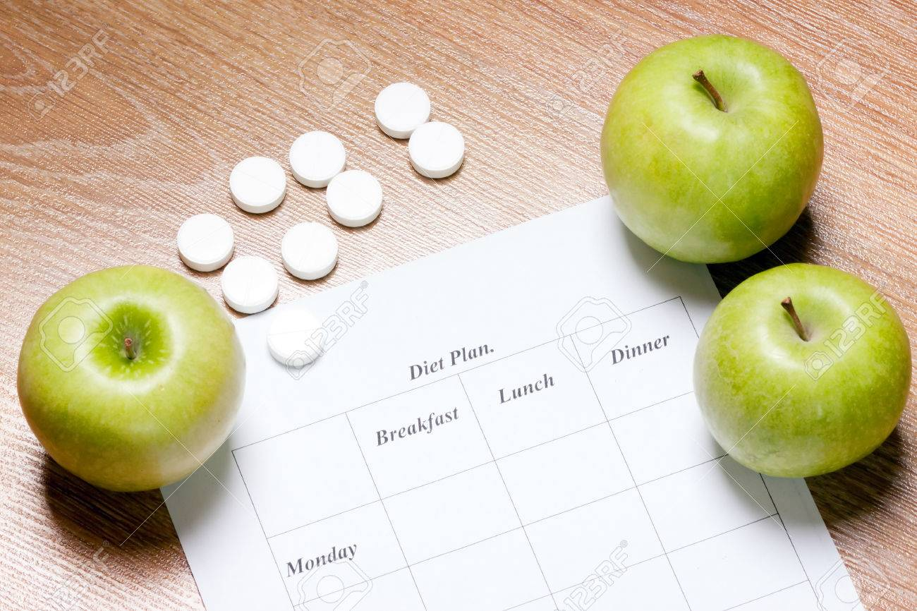 diet Plan. diet plan and apple lying on a wooden surface - 26117347
