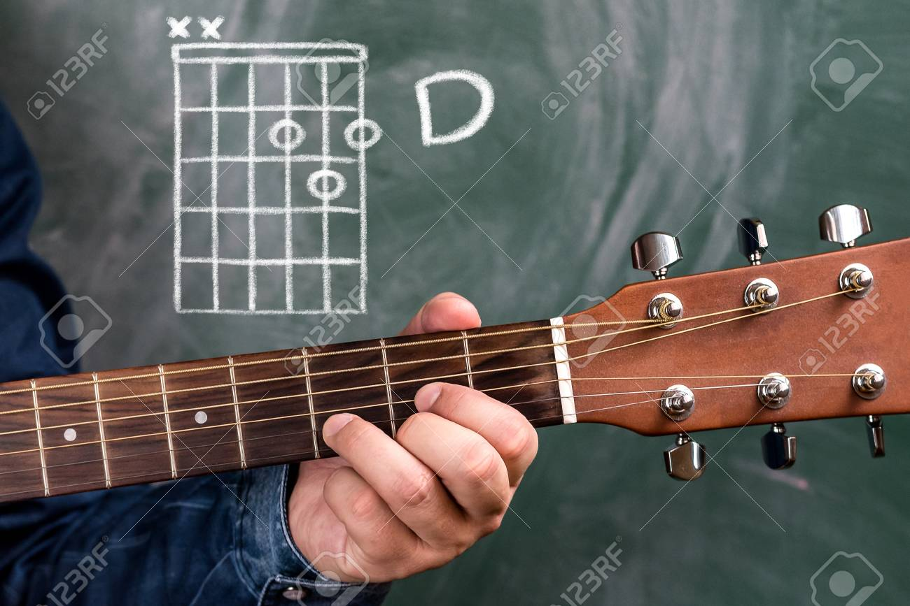 Man In A Blue Denim Shirt Playing Guitar Chords Displayed On Stock