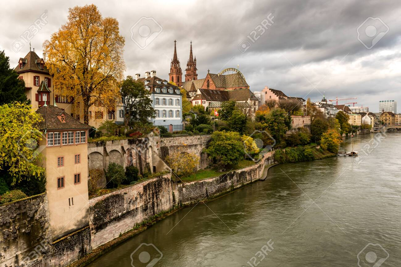Grossbasel old town with Basler Muenster Cathedral on the Rhine river in Basel, Switzerland - 133832380