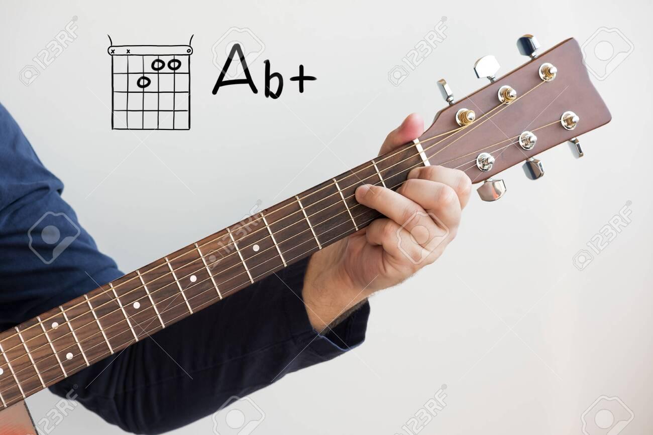 Learn Guitar   Man in a dark blue shirt playing guitar chords..