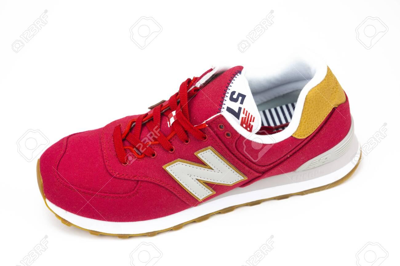 BOSTON, MA, USA, January 2019 New Balance NB 574 athletic shoes..