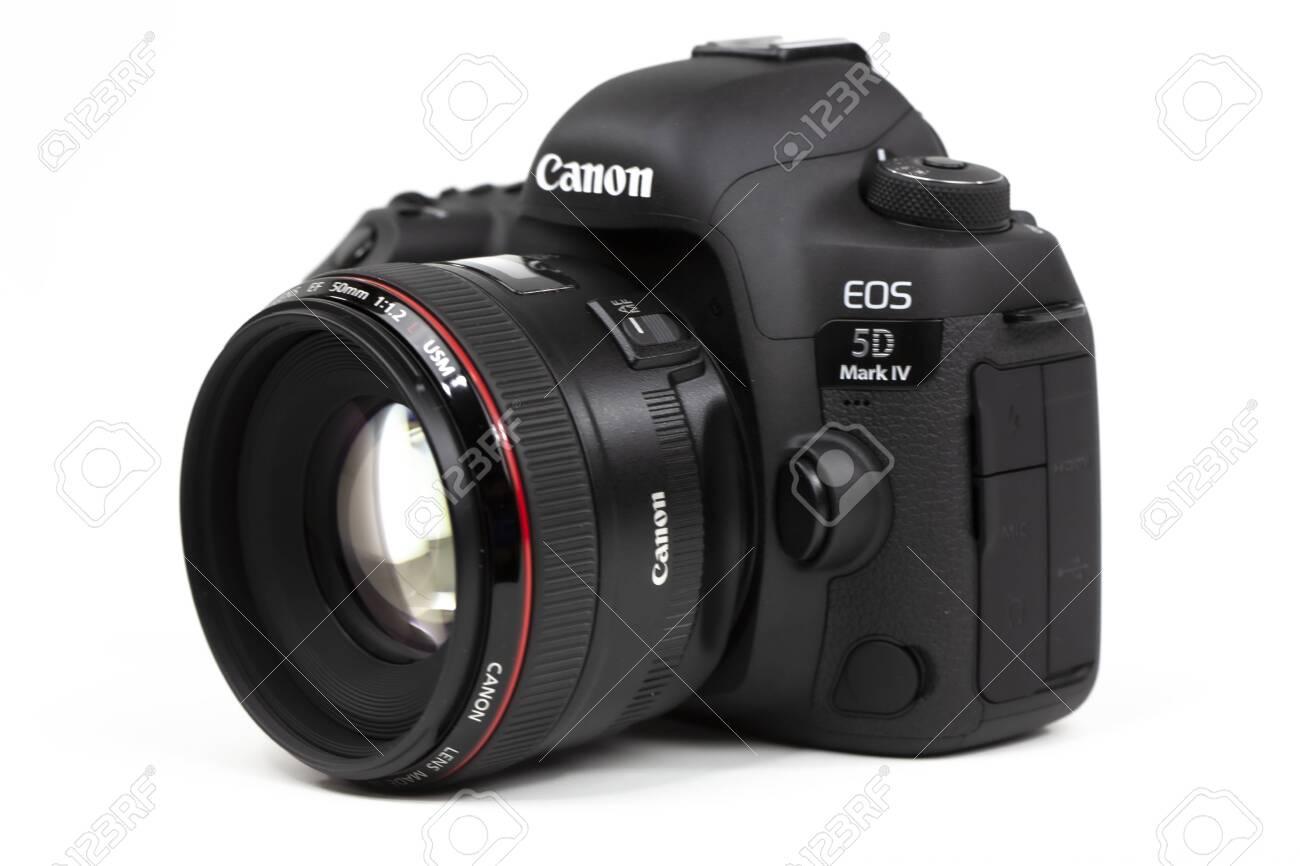 Tokyo, Japan 22.04.2020: DSLR camera Canon Mark 5D IV with Canon EF-50mm 1.2 USM - 145356519