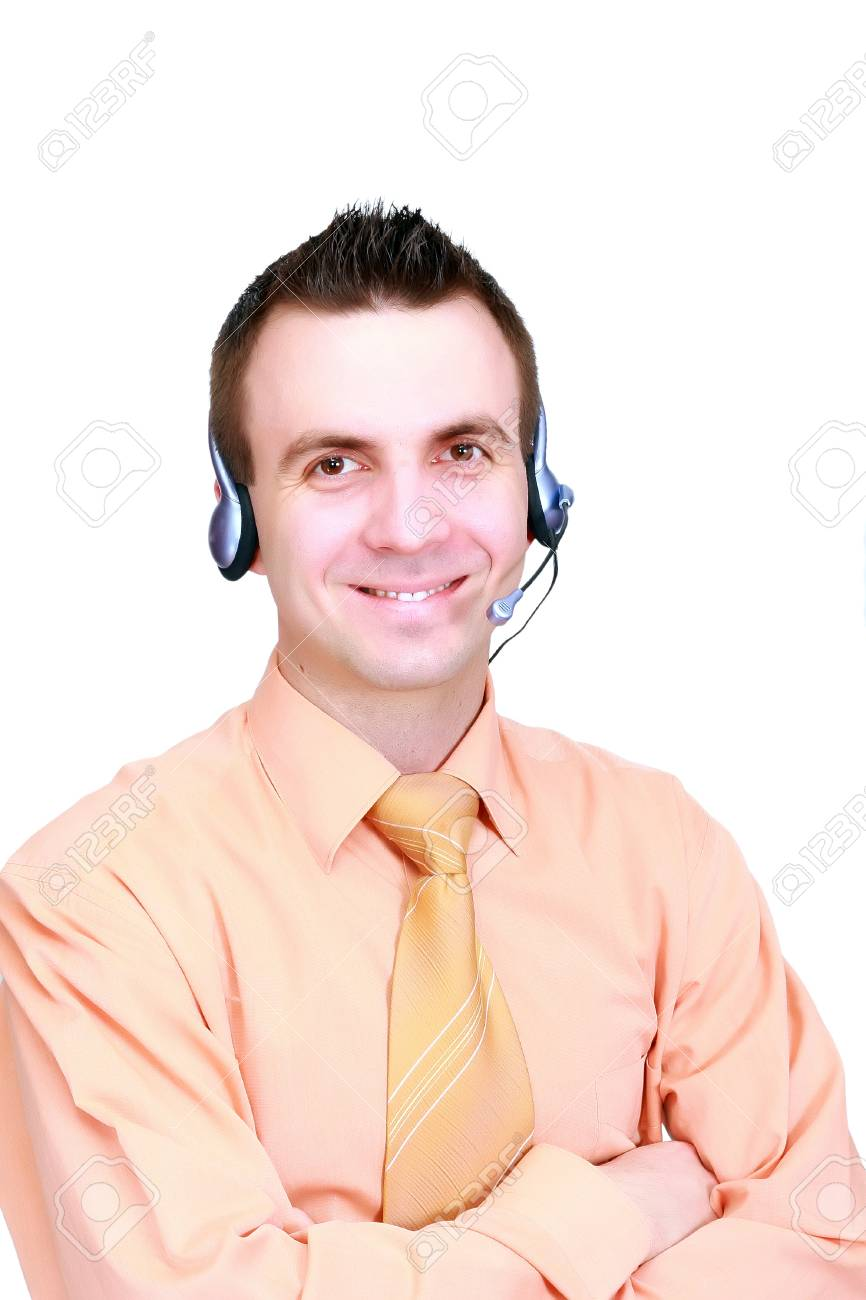 Portrait of operator call-centre on white background.  Isolated over white Stock Photo - 10275927