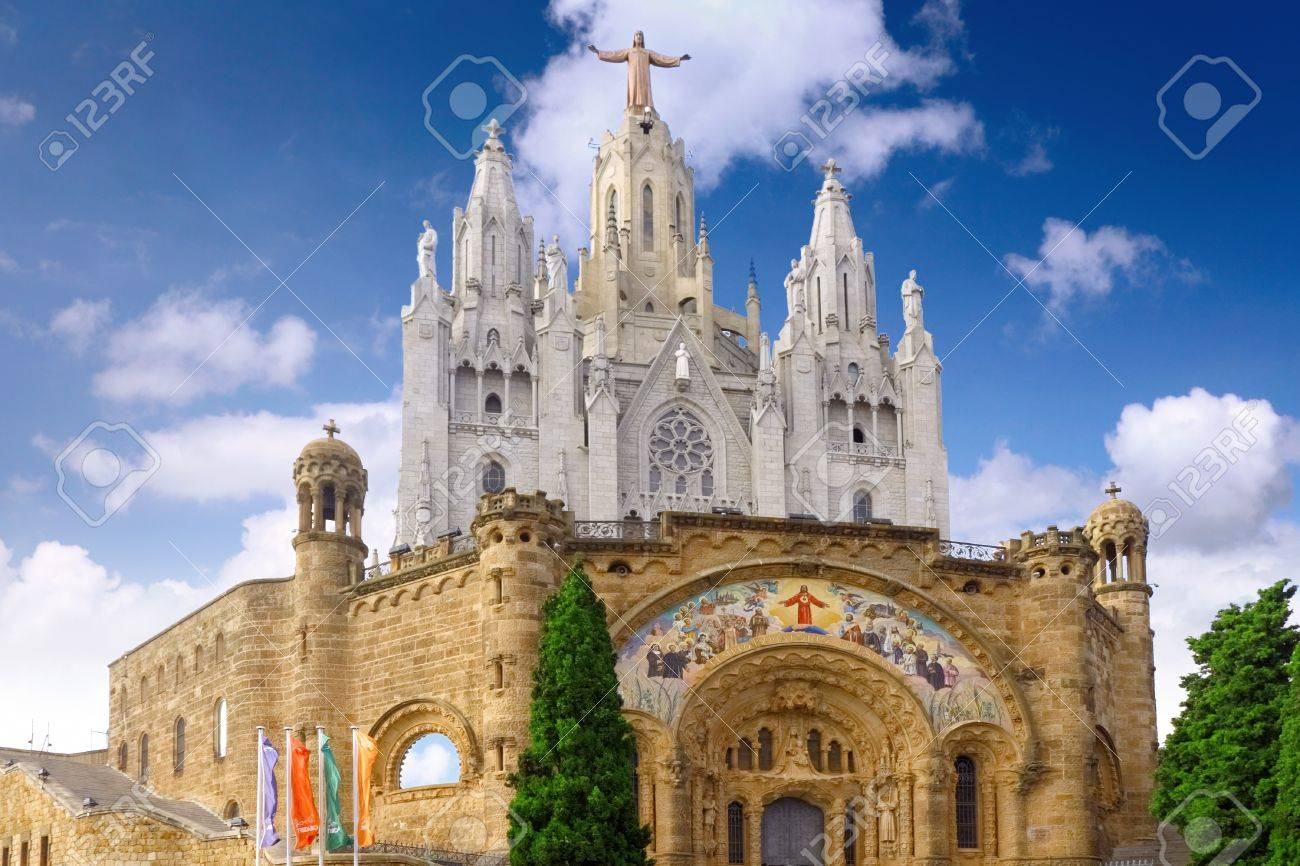 Temple on mountain top - Tibidabo in Barcelona city. Spain Stock Photo - 10606544