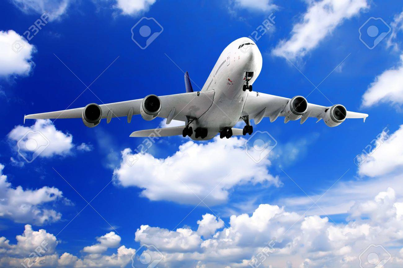 Modern airplane  in the sky near Airport. Approach Stock Photo - 11544171