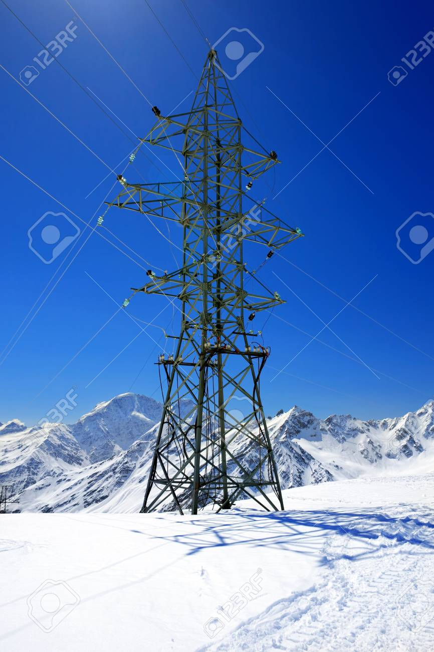 Power line high in the mountains. Elbrus Stock Photo - 13553962