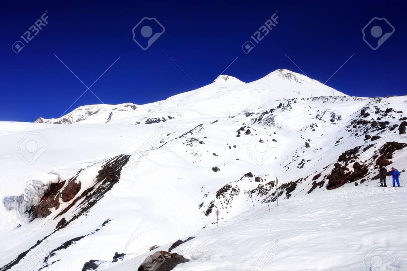 Beautiful view of mountaint Elbrus, - highest peak of Europe Stock Photo - 13553960