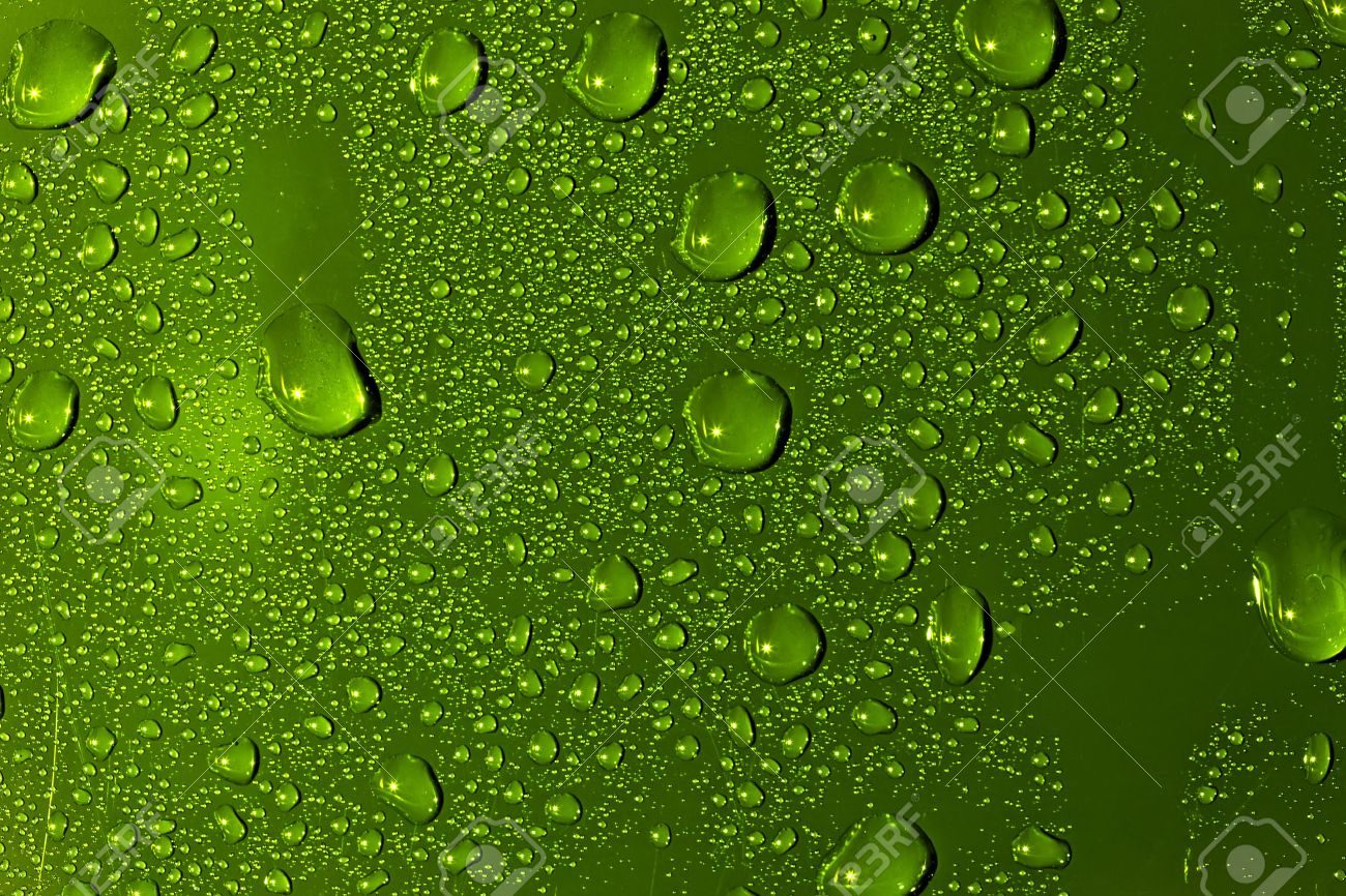 Abstract Water Drops Background. Green Colour Wallpaper. Stock