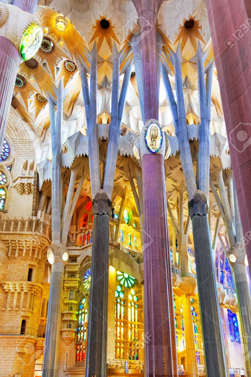 Sagrada Familia Beautiful And Majestic Interior View Barcelona Stock Photo Picture And Royalty Free Image Image 34546573