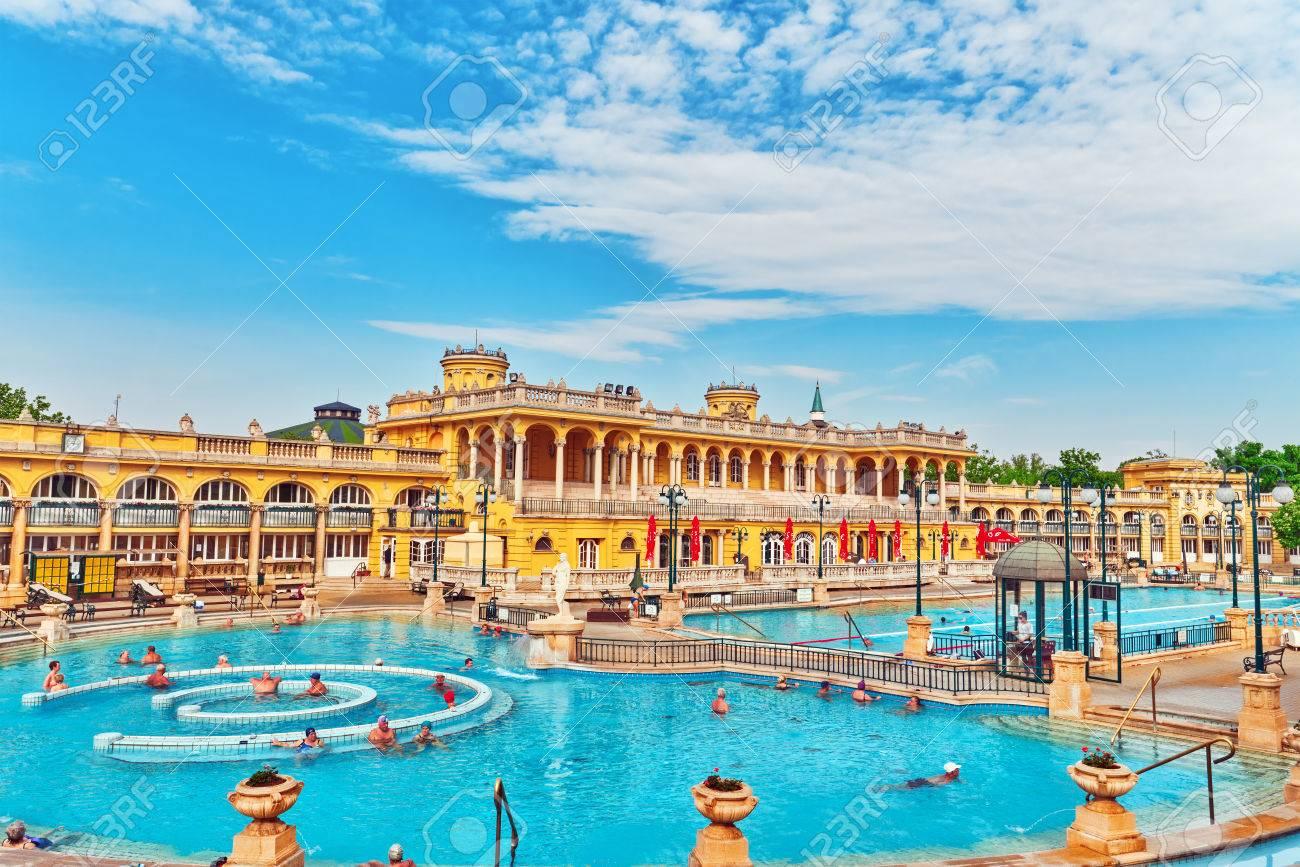 BUDAPEST, HUNGARY- MAY 05,2016: Courtyard Of Szechenyi Baths ...
