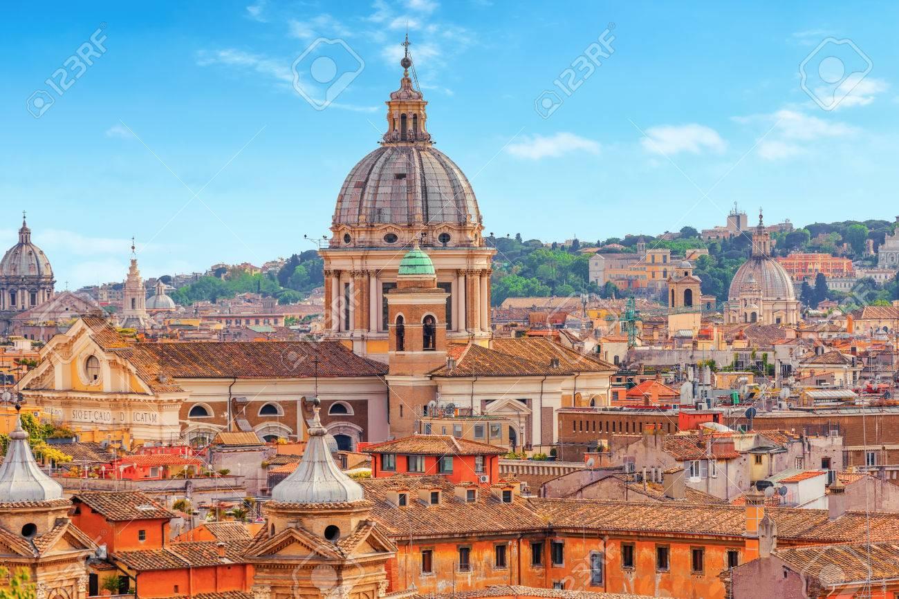 Veduta Della Città Di Roma Dall Alto Dalla Collina Di Terrazza Del Pincio Italia