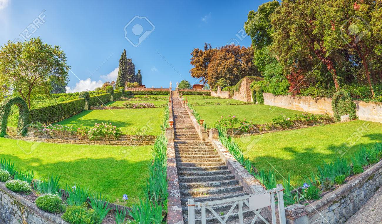Beautiful Landscape Panorama On Historical View Gardens Of Bardini