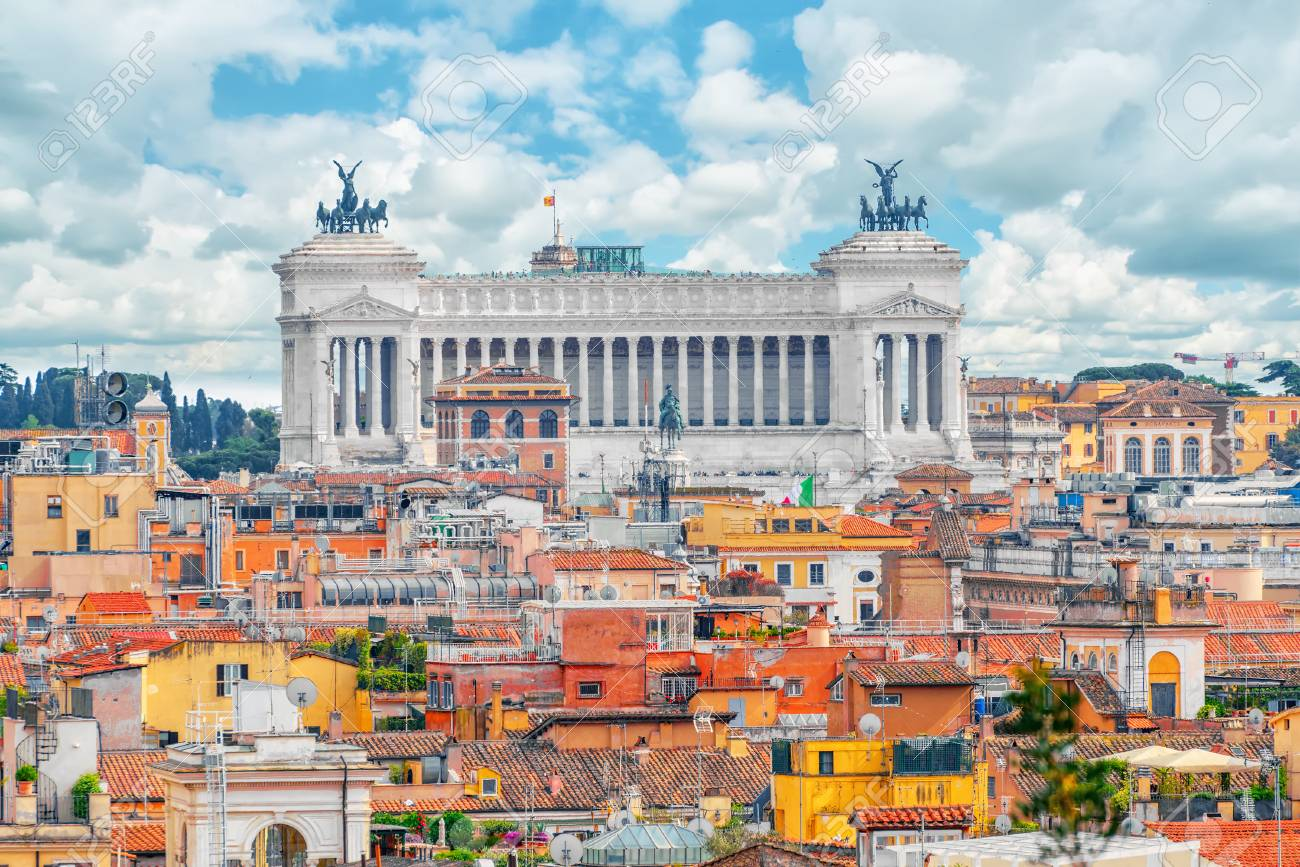 View Of The City Of Rome From Above From The Hill Of Terrazza
