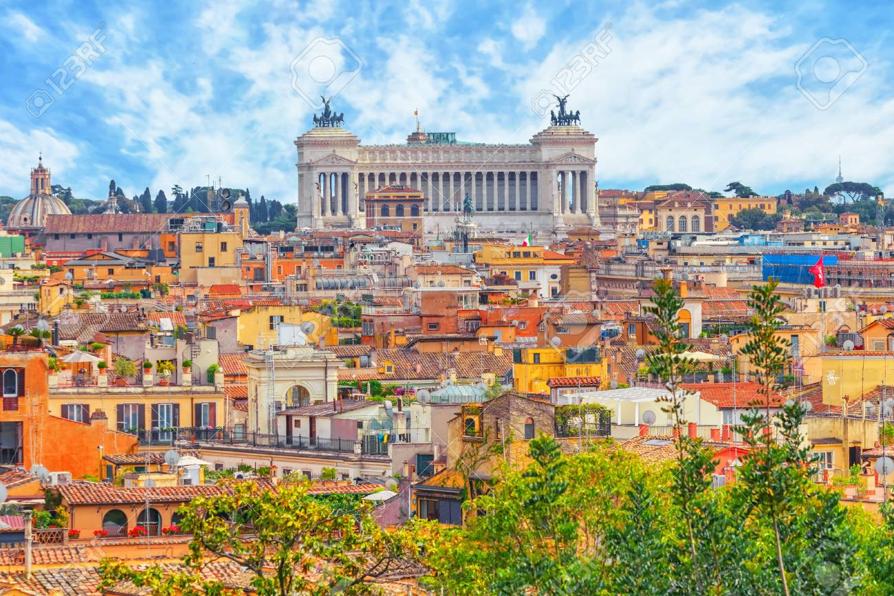 View Of The City Of Rome From Above, From The Hill Of Terrazza ...