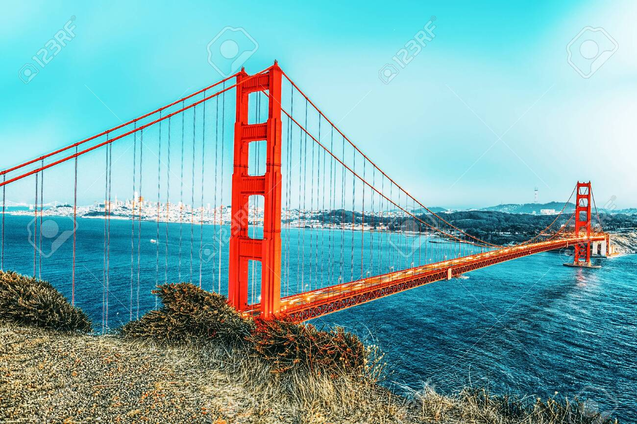 Panorama of the Gold Gate Bridge and San Francisco city at night, California, USA. - 147925834