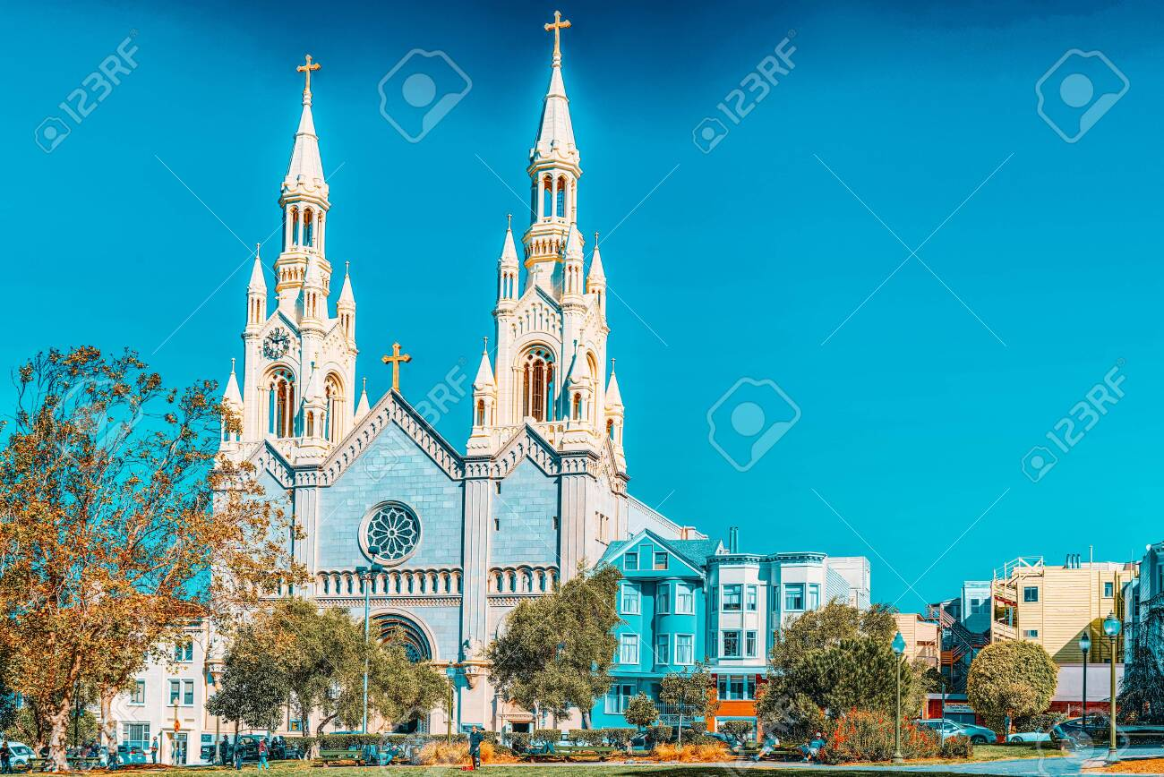 San Francisco, California, USA - September 11, 2018: Saints Peter and Paul Church in San Francisco. - 149963406
