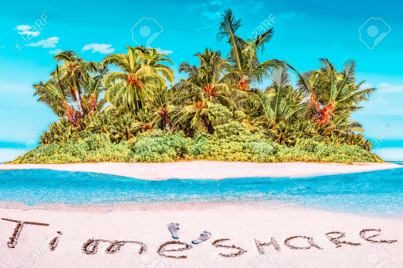 """Whole tropical island within atoll in tropical Ocean. Uninhabited and wild subtropical isle with palm trees. Inscription """"TimeShare"""" in the sand on a tropical island, Maldives. - 168259168"""