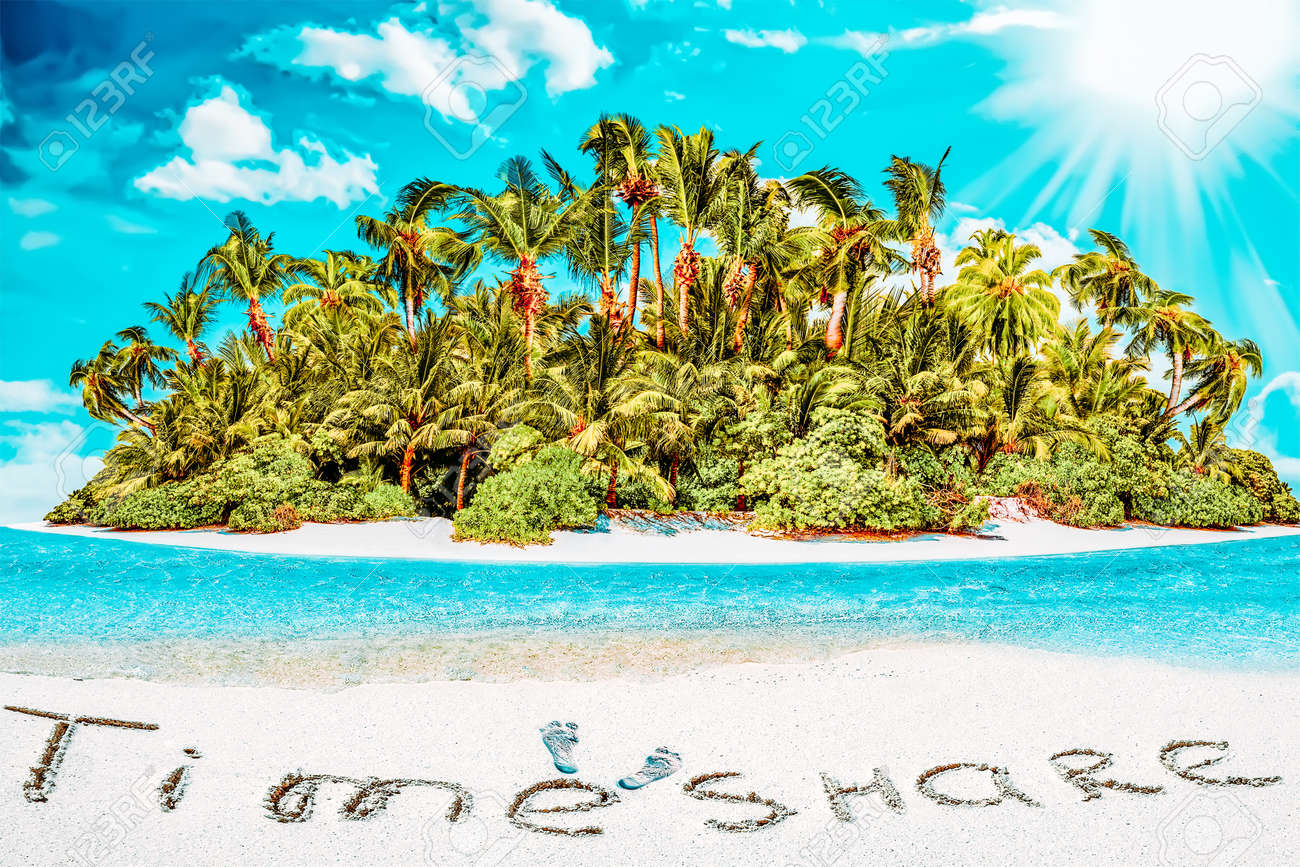 """Whole tropical island within atoll in tropical Ocean. Uninhabited and wild subtropical isle with palm trees. Inscription """"TimeShare"""" in the sand on a tropical island, Maldives. - 168259169"""