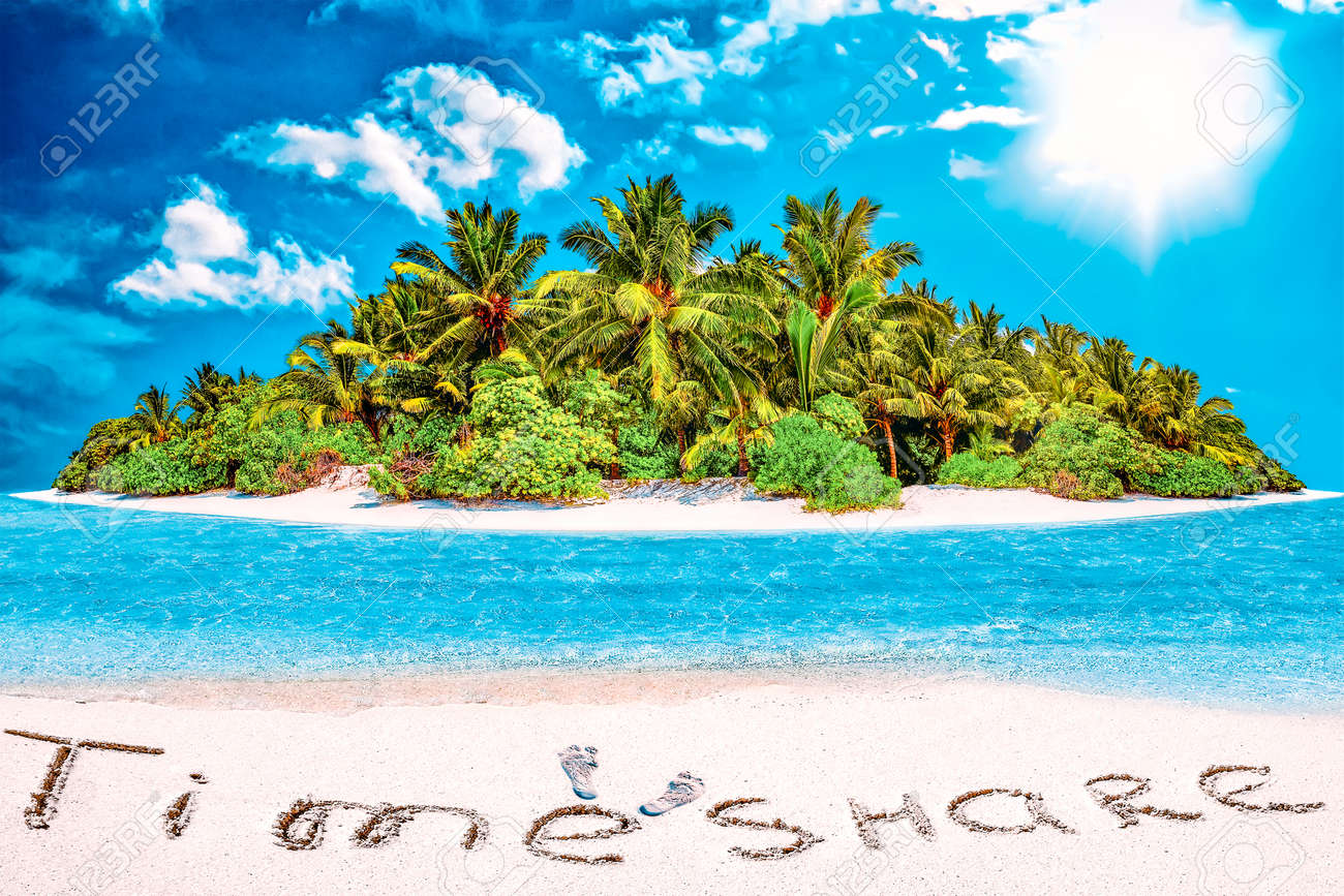 """Whole tropical island within atoll in tropical Ocean. Uninhabited and wild subtropical isle with palm trees. Inscription """"TimeShare"""" in the sand on a tropical island, Maldives. - 168259171"""