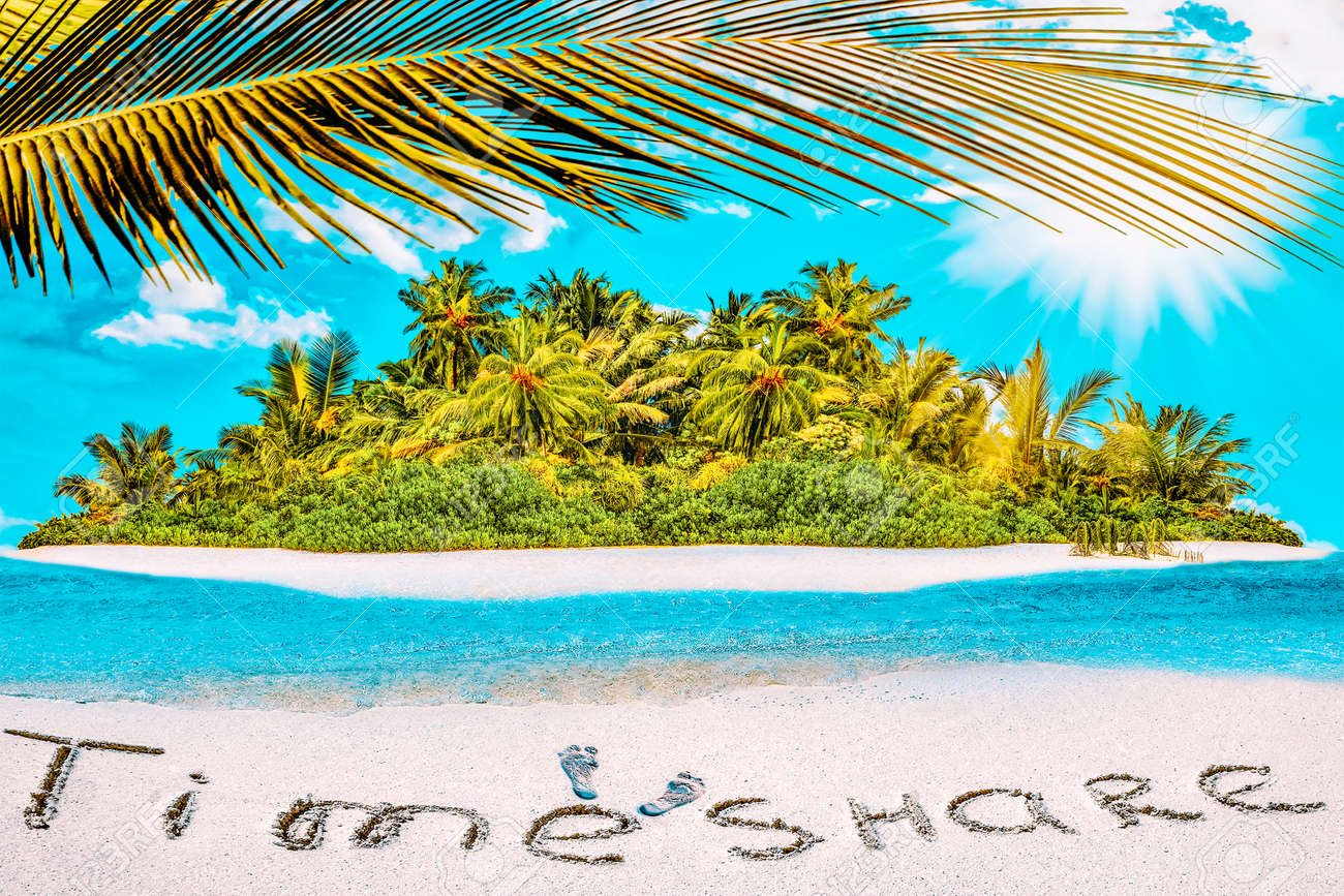 """Whole tropical island within atoll in tropical Ocean. Uninhabited and wild subtropical isle with palm trees. Inscription """"TimeShare"""" in the sand on a tropical island, Maldives. - 168259174"""