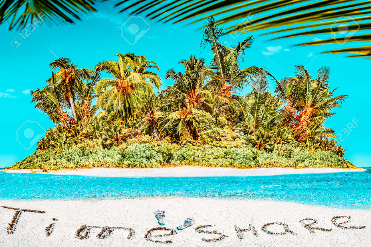 """Whole tropical island within atoll in tropical Ocean. Uninhabited and wild subtropical isle with palm trees. Inscription """"TimeShare"""" in the sand on a tropical island, Maldives. - 168259176"""