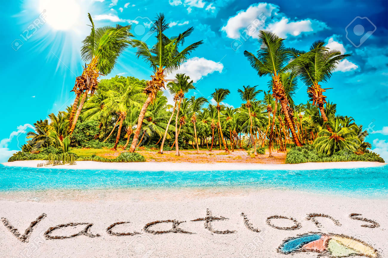 """Whole tropical island within atoll in tropical Ocean. Uninhabited and wild subtropical isle with palm trees. Inscription """"Vacations"""" in the sand on a tropical island, Maldives. - 168259187"""