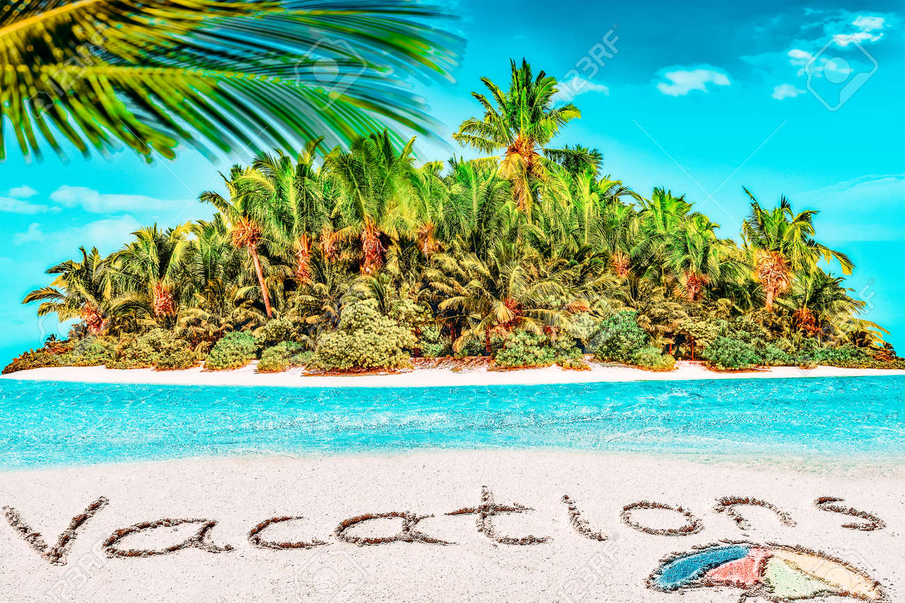"""Whole tropical island within atoll in tropical Ocean. Uninhabited and wild subtropical isle with palm trees. Inscription """"Vacations"""" in the sand on a tropical island, Maldives. - 168259209"""