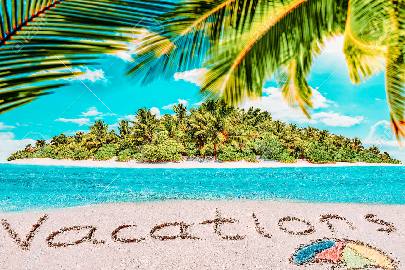 """Whole tropical island within atoll in tropical Ocean. Uninhabited and wild subtropical isle with palm trees. Inscription """"Vacations"""" in the sand on a tropical island, Maldives. - 168259223"""