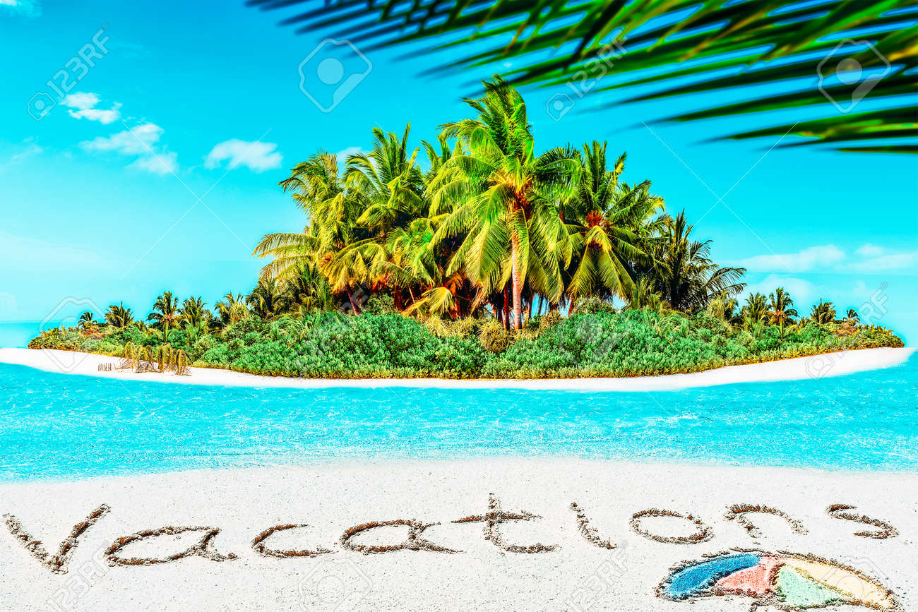 """Whole tropical island within atoll in tropical Ocean. Uninhabited and wild subtropical isle with palm trees. Inscription """"Vacations"""" in the sand on a tropical island, Maldives. - 168259260"""