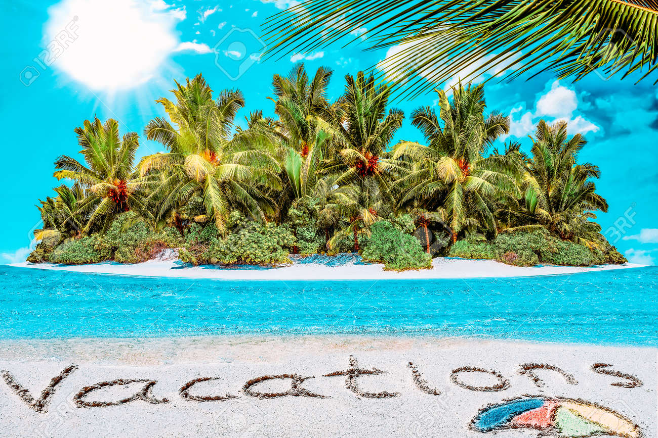 """Whole tropical island within atoll in tropical Ocean. Uninhabited and wild subtropical isle with palm trees. Inscription """"Vacations"""" in the sand on a tropical island, Maldives. - 168259265"""