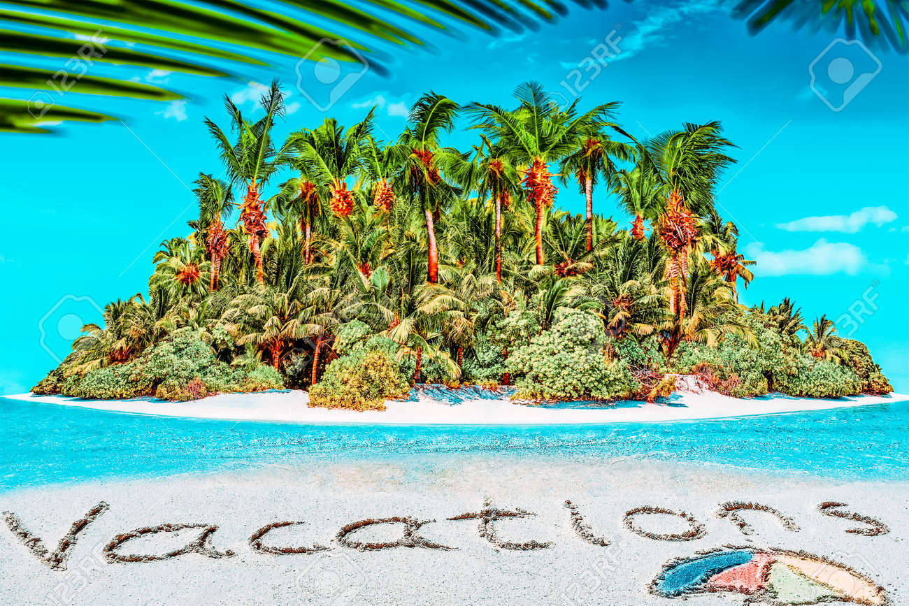"""Whole tropical island within atoll in tropical Ocean. Uninhabited and wild subtropical isle with palm trees. Inscription """"Vacations"""" in the sand on a tropical island, Maldives. - 168259266"""