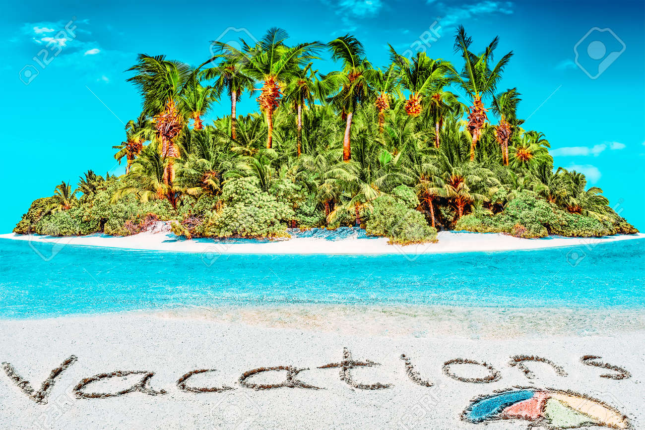 """Whole tropical island within atoll in tropical Ocean. Uninhabited and wild subtropical isle with palm trees. Inscription """"Vacations"""" in the sand on a tropical island, Maldives. - 168259274"""
