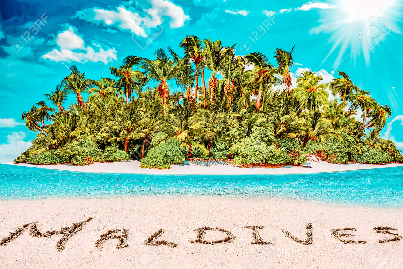 """Whole tropical island within atoll in tropical Ocean. Uninhabited and wild subtropical isle with palm trees. Inscription """"Maldives"""" in the sand on a tropical island, Maldives. - 168259276"""