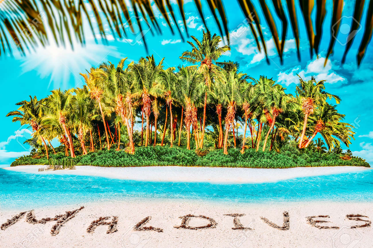 """Whole tropical island within atoll in tropical Ocean. Uninhabited and wild subtropical isle with palm trees. Inscription """"Maldives"""" in the sand on a tropical island, Maldives. - 168259307"""