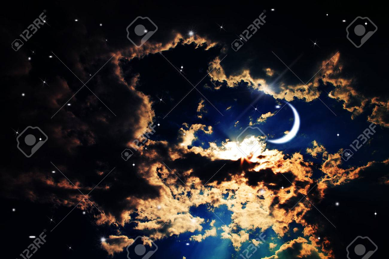 Backgrounds Night Sky With Stars And Moon Beautiful Clouds Stock Photo