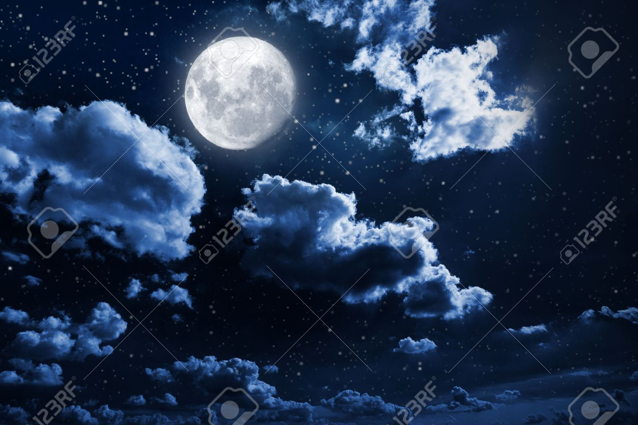 Night sky with stars and moon - 46053589