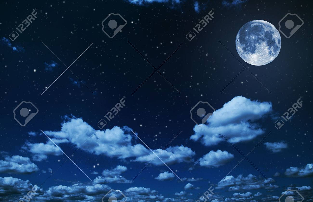 backgrounds night sky with stars and moon and clouds. wood. Elements of this image furnished by NASA - 46051539