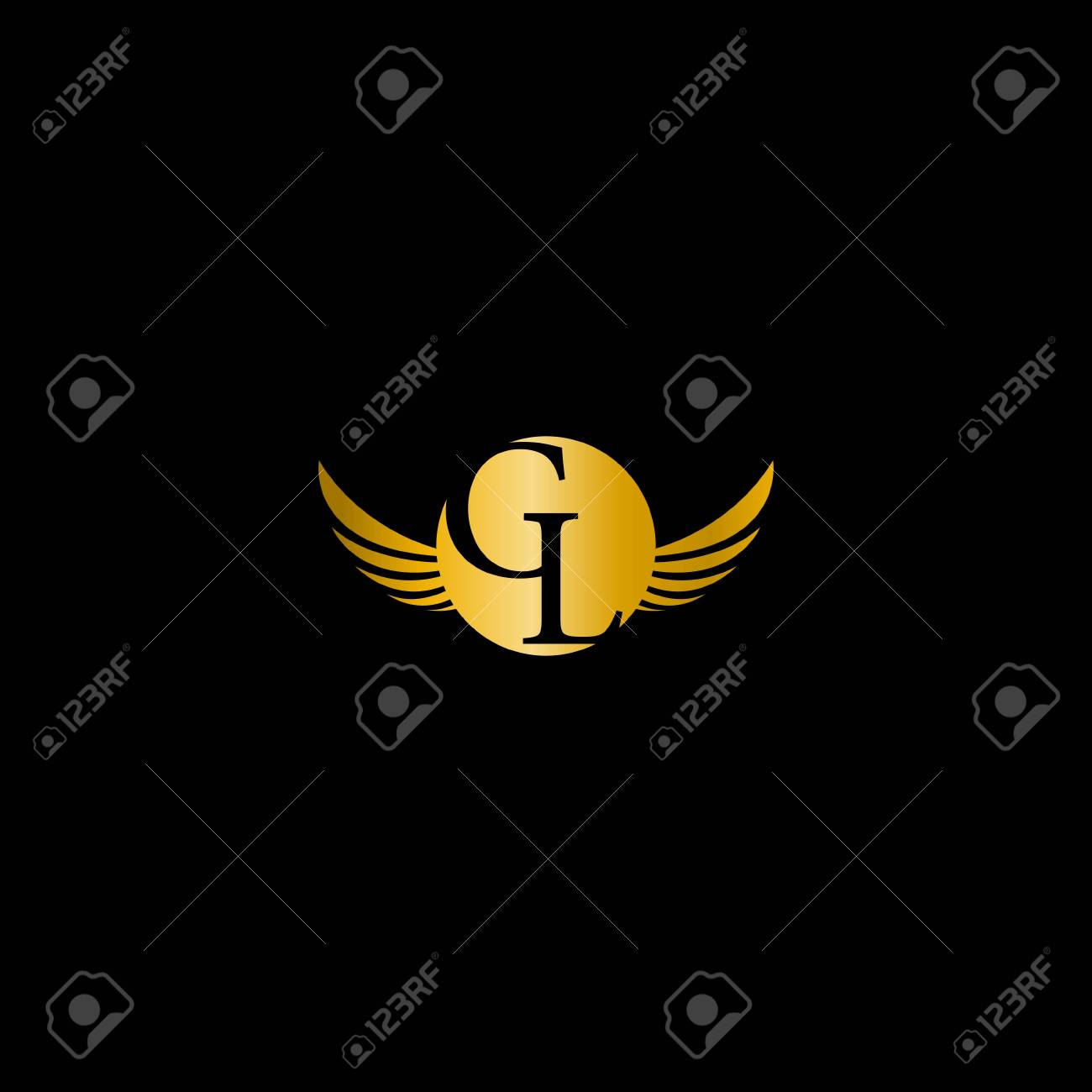 Gl Letter With Wing On Gold Color Logo Design Vector
