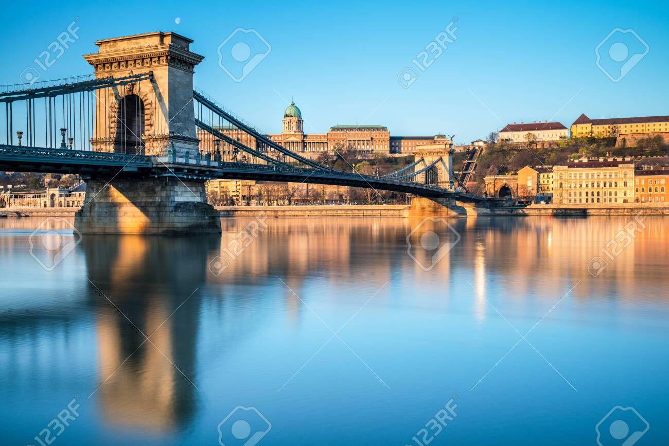 Budapest Castle and famous Chain Bridge in Budapest early morning. Focus on the bridge. - 134095008