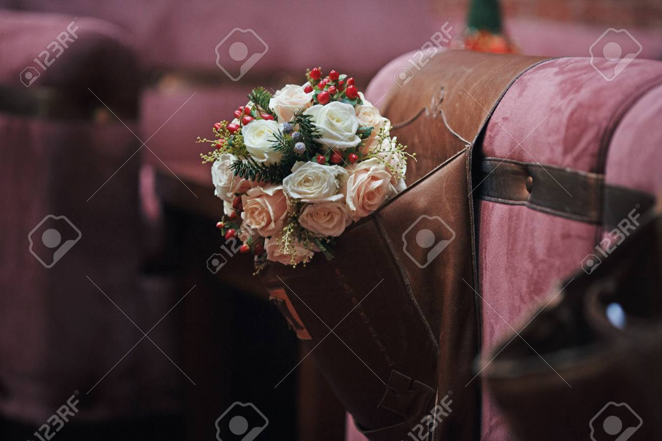 Beautiful White Roses Wedding Bouquet, Leather Chair Background ...
