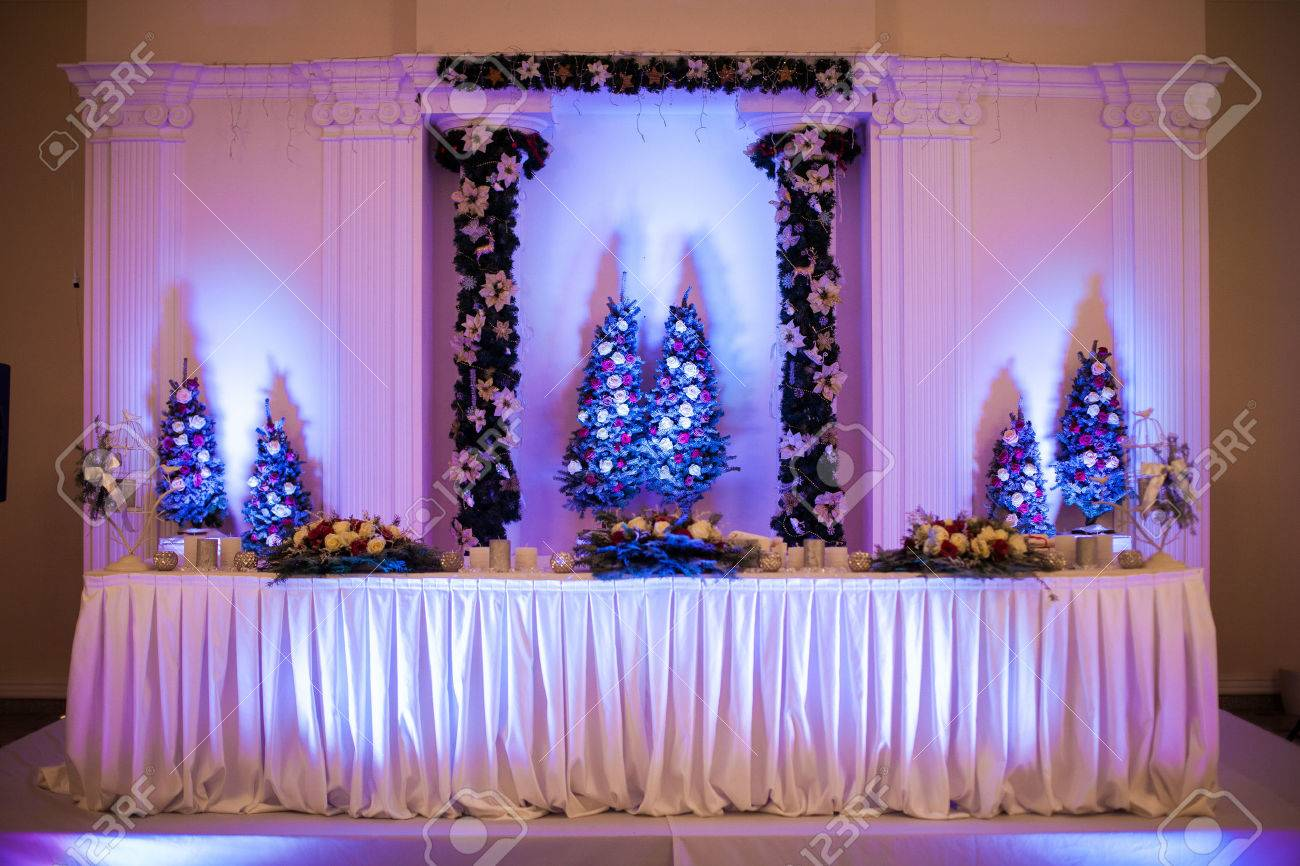 Elegant luxury wedding reception catering table christmas theme elegant luxury wedding reception catering table christmas theme stock photo 53813274 junglespirit Image collections