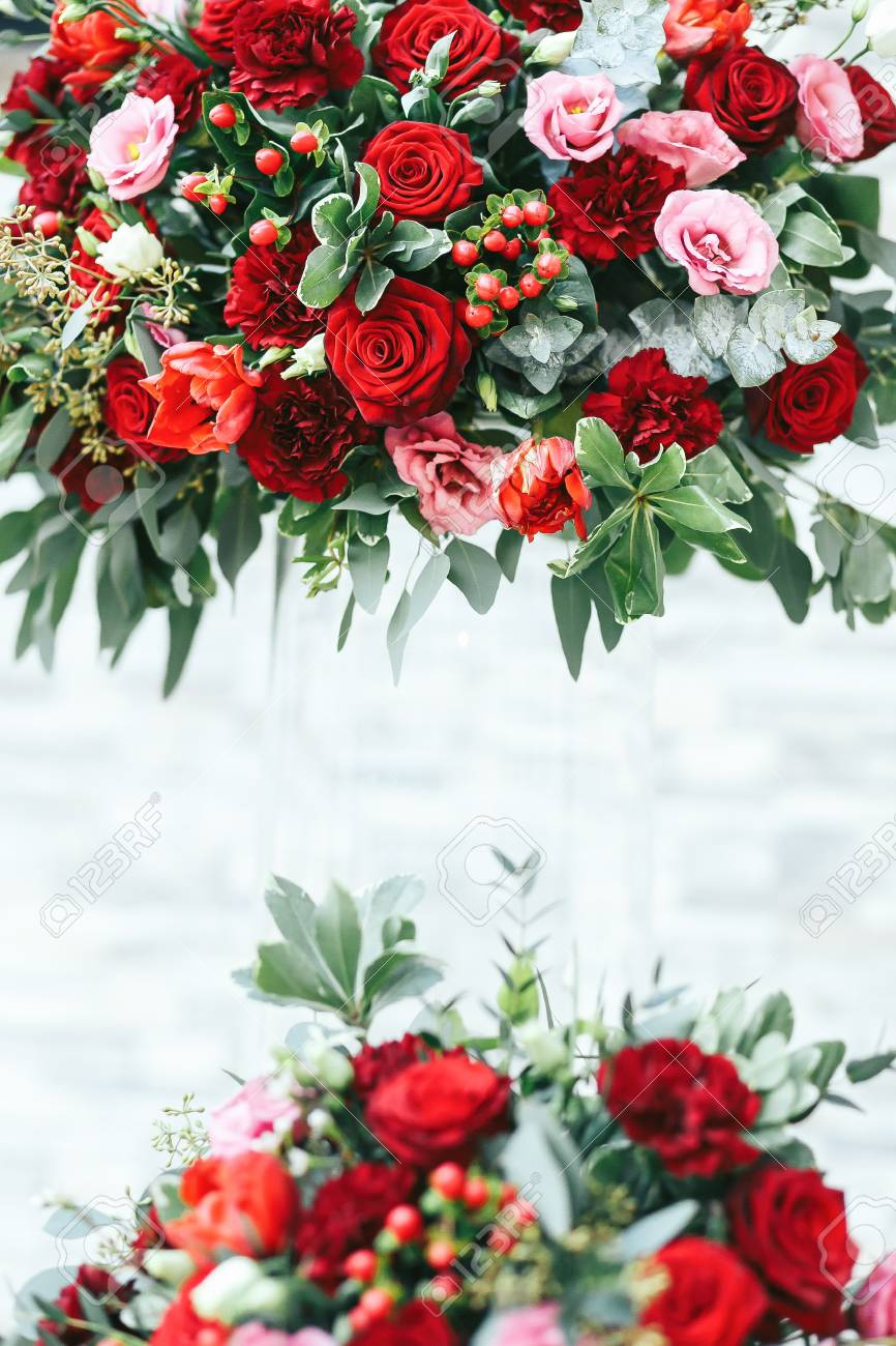 Rich Red Bouquets Of Roses Peonies And Ranunculus In The Glass Stock Photo Picture And Royalty Free Image Image 64213311