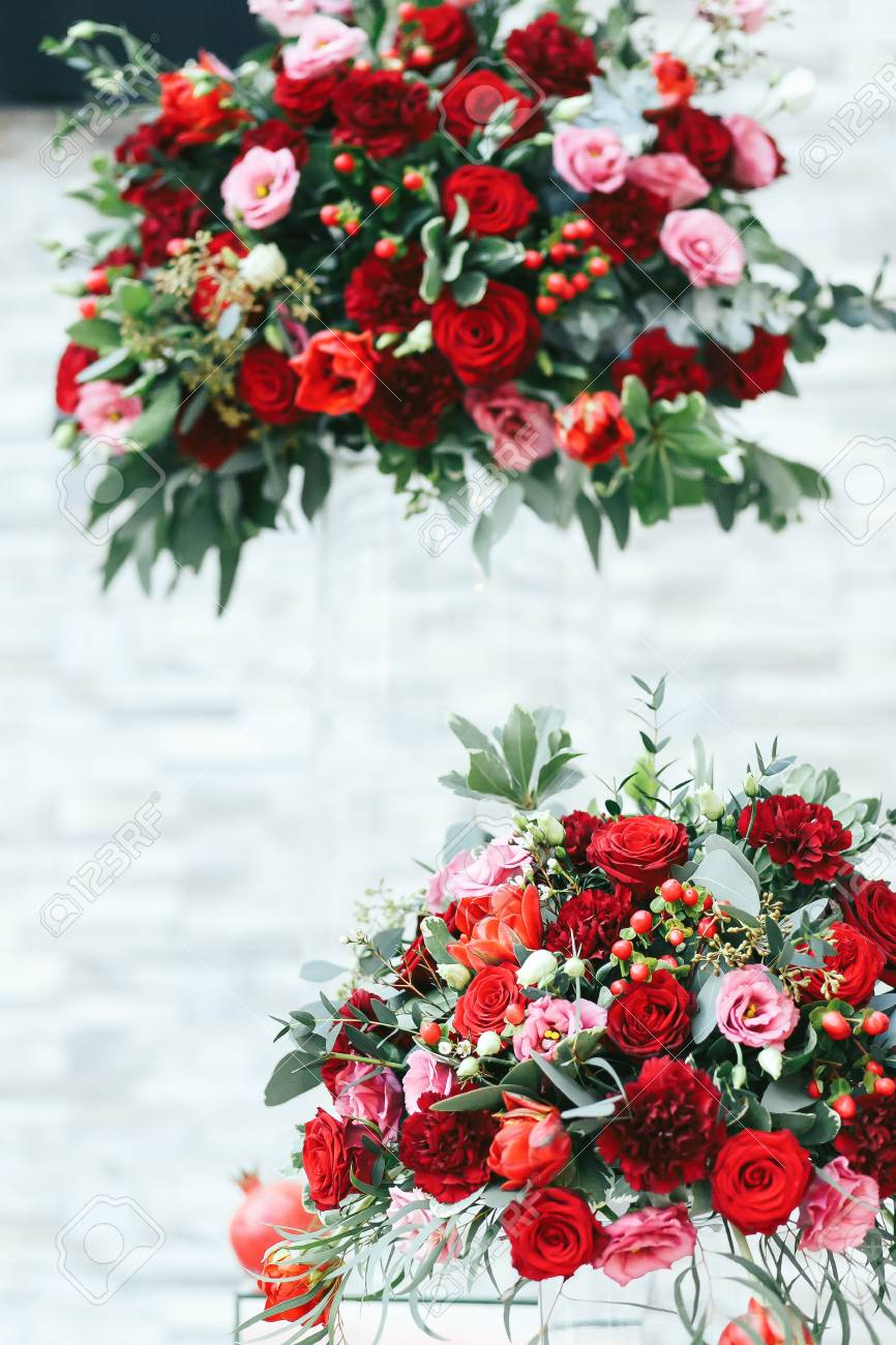 Rich Red Bouquets Of Roses Peonies And Ranunculus Stock Photo Picture And Royalty Free Image Image 64221658