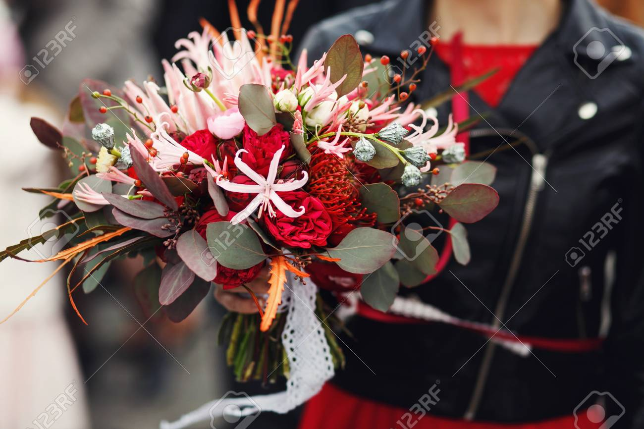 Wedding Bouquet Made Of Rannunculus, Roses And Chrysanthemums ...