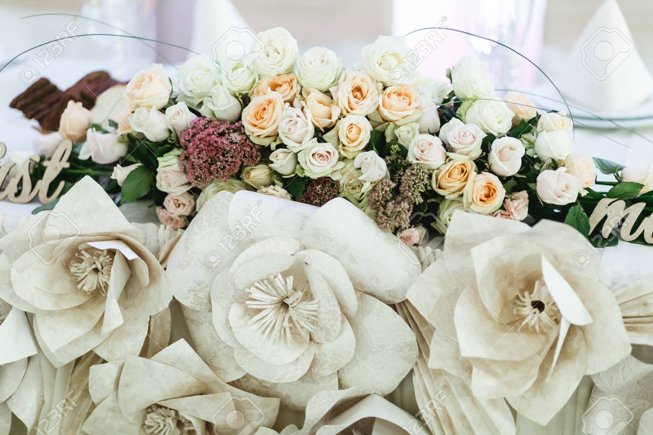 Cloth Flowers Hang Under The Natural One On The Dinner Table Stock