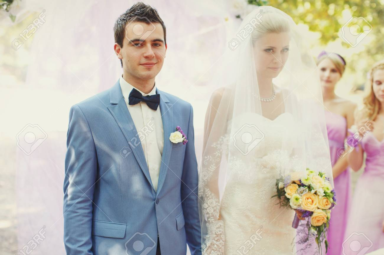 Bride And A Groom On The Wedding Ceremony Stock Photo, Picture And ...