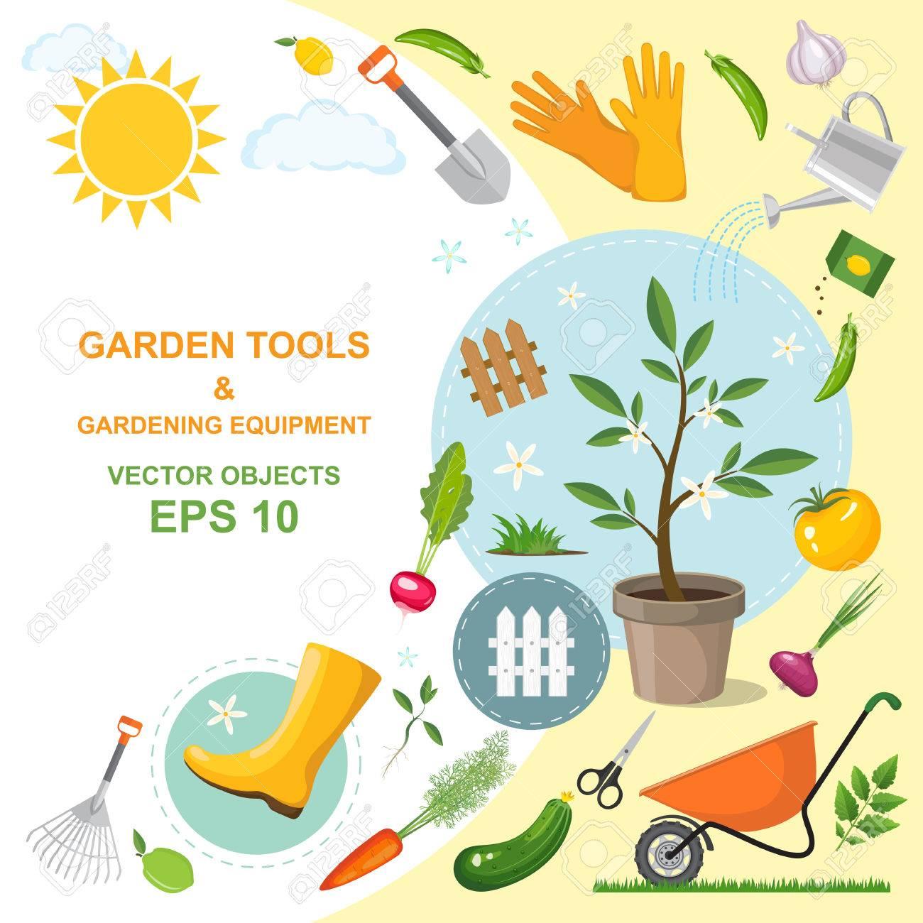 Vector illustration jeu d\'outils de jardinage de type différent,  équipement, légumes et plantes. Un des dessins colorés de l\'horticulture de  ...