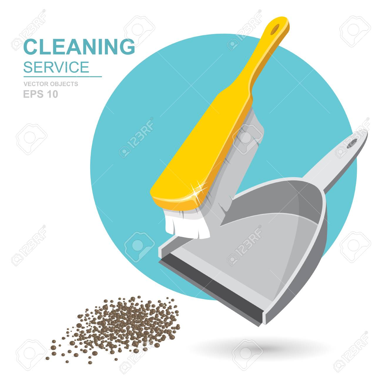 Vector Set of cleaning service elements. Cleaner. Cleaning supplies. Housework tools, House cleaning. Garbage, dustpan and brush. Template for banners, web sites, printed materials, infographics - 85203577
