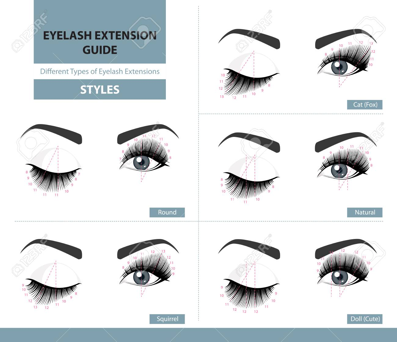Different types of eyelash extensions. - 91169500